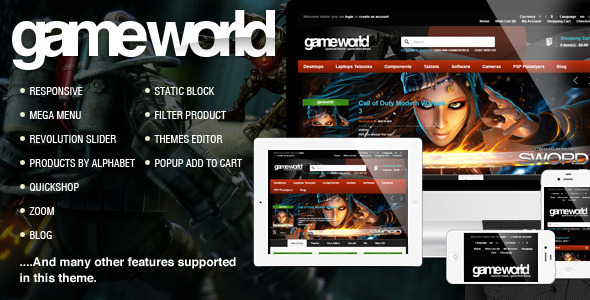 ThemeForest OpenCart Game Theme GameWorld 7700485