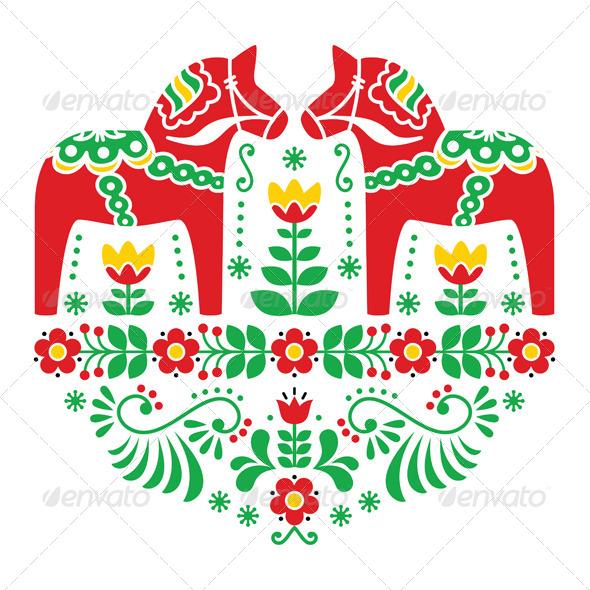 GraphicRiver Swedish Dala or Daleclarian Horse Folk Pattern 7700638