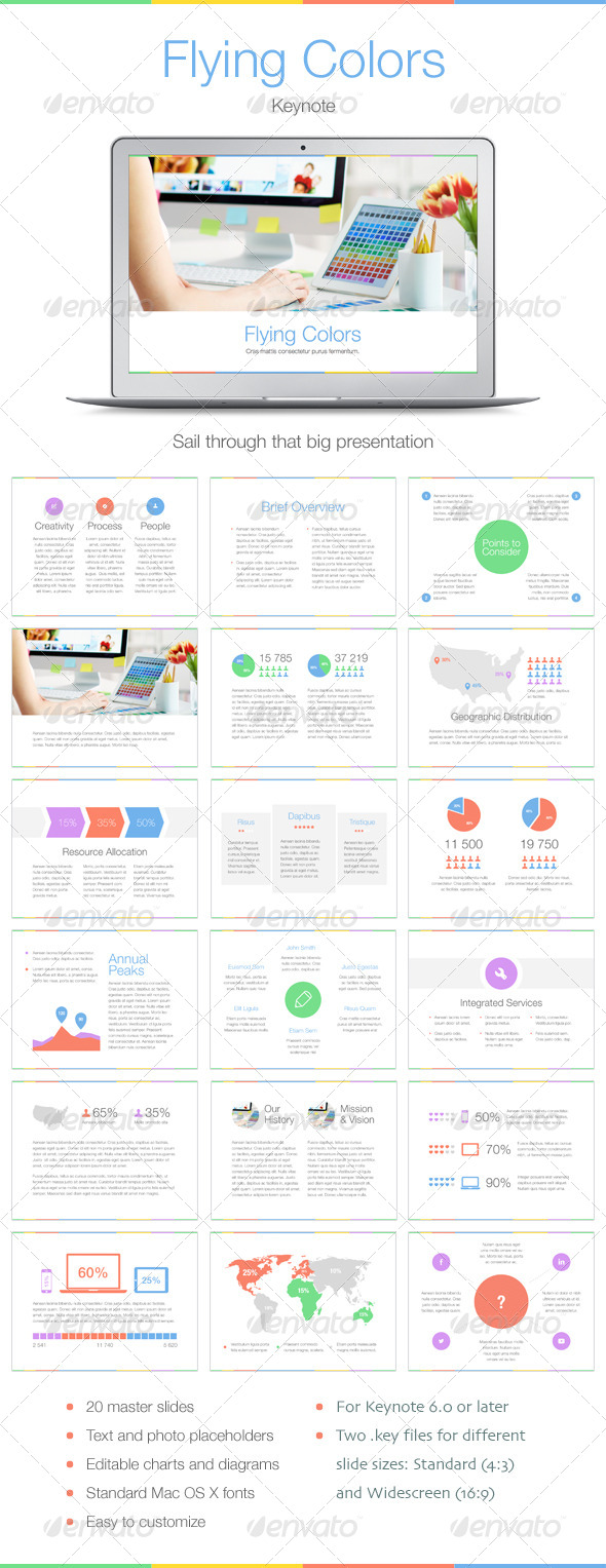 GraphicRiver Flying Colors Keynote Template 7700680
