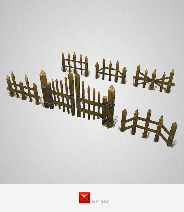 3DOcean Low Poly Fence Set 04 7700681