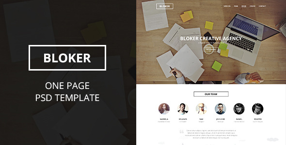 Bloker | One Page PSD Template