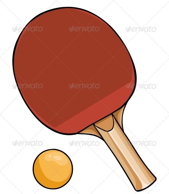 GraphicRiver Cartoon Ping-Pong Racket and Ball 7701321