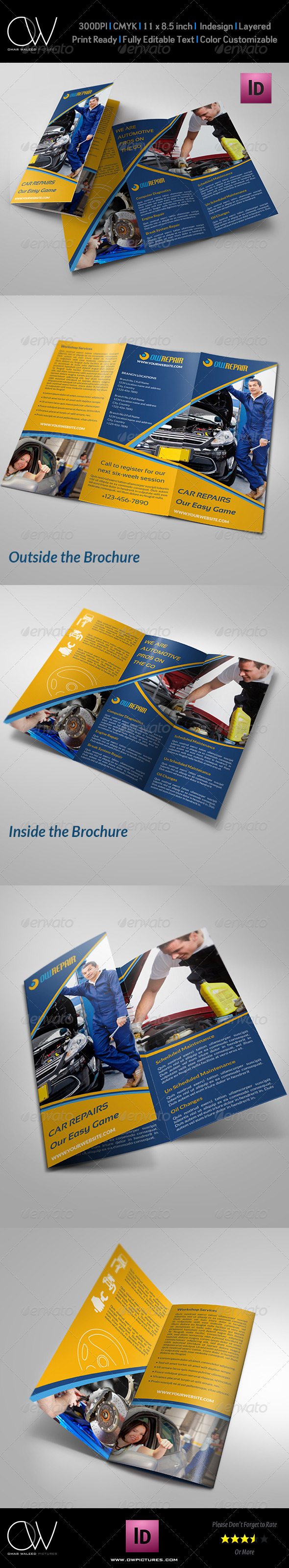 GraphicRiver Car Repair Tri-Fold Company Brochure Template 7701412