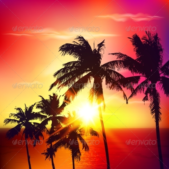 GraphicRiver Palm Silhouettes on Summer Sunset 7701510