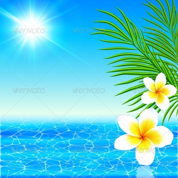 GraphicRiver Summer Sea with Palms and Flowers 7701527