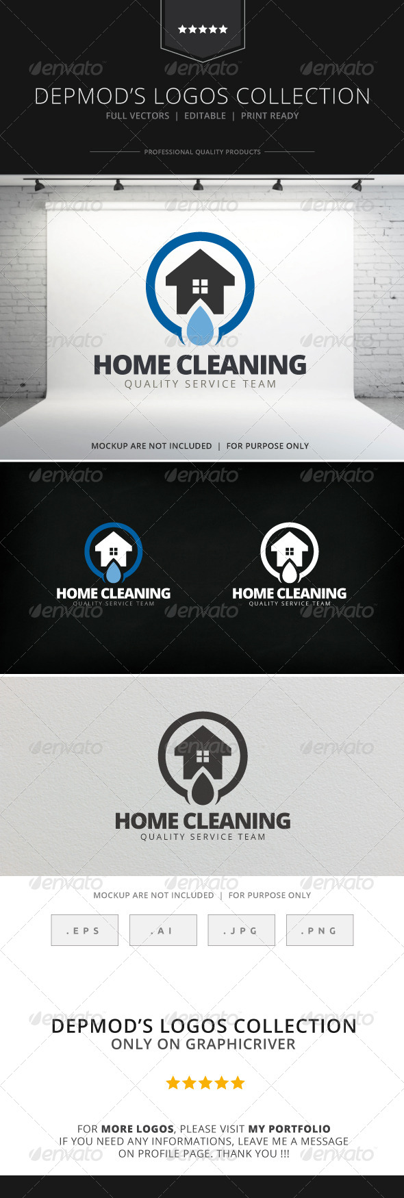 GraphicRiver Home Cleaning Logo 7701817