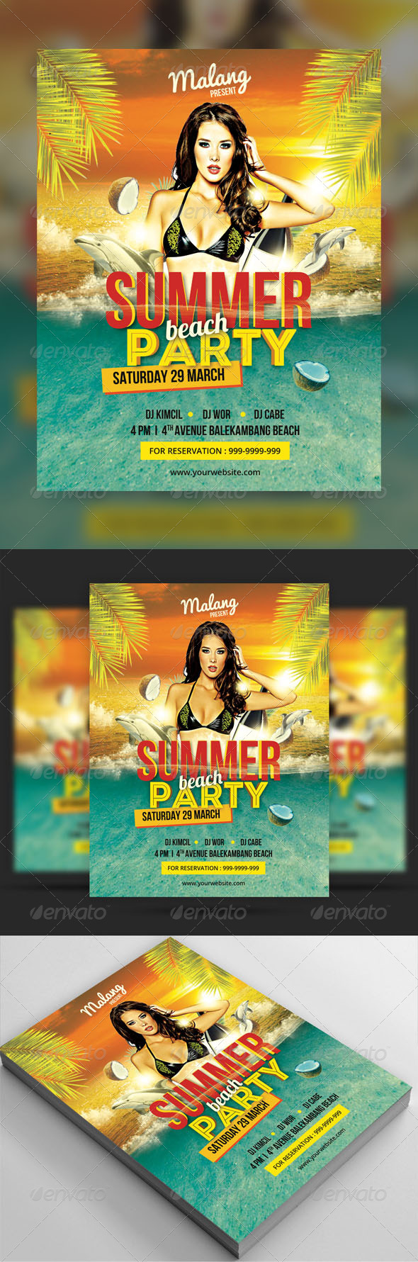 GraphicRiver Summer Beach Party Flyer 7702582