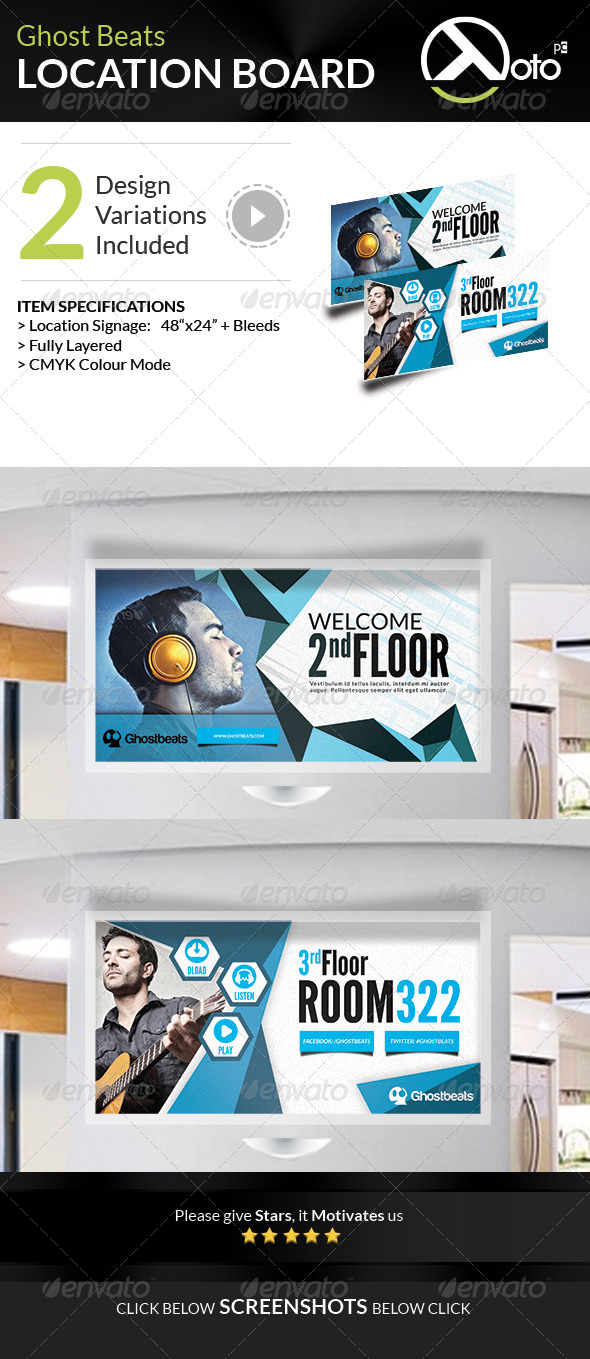 GraphicRiver Ghost Beats Music Downloads Location Board 7702815