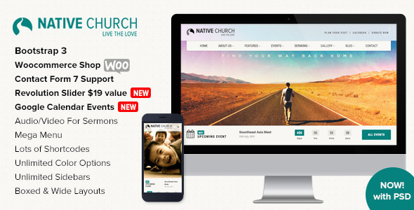 NativeChurch - Multi Purpose Wordpress Theme - Churches Nonprofit