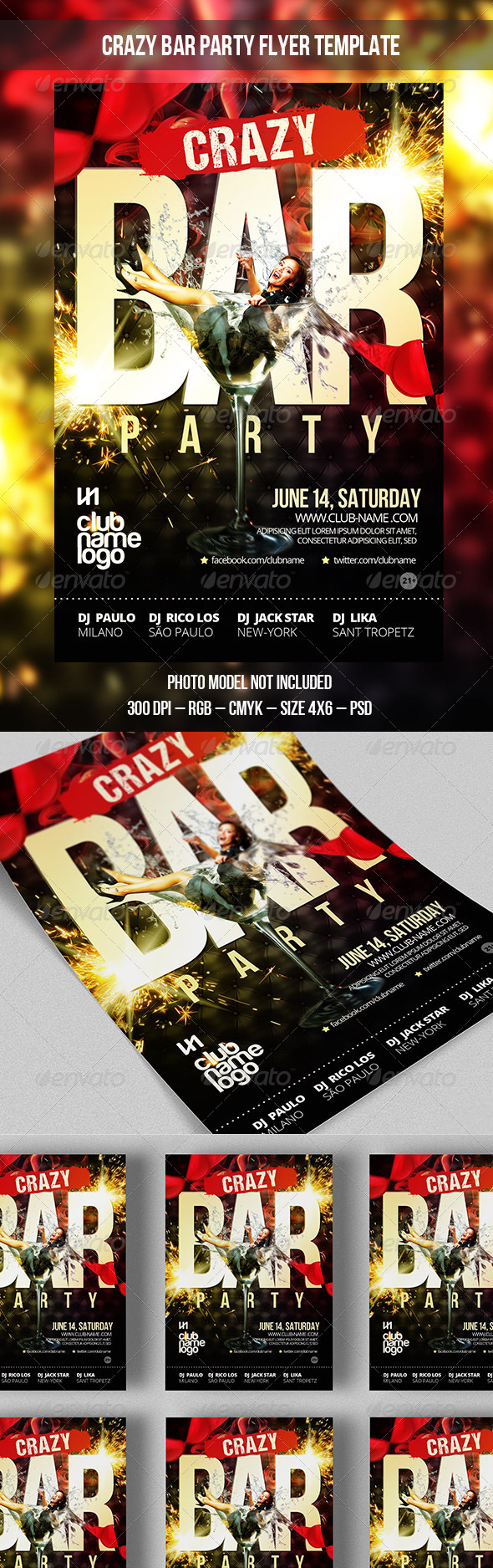 GraphicRiver Crazy Bar Party Flyer Template 7703152