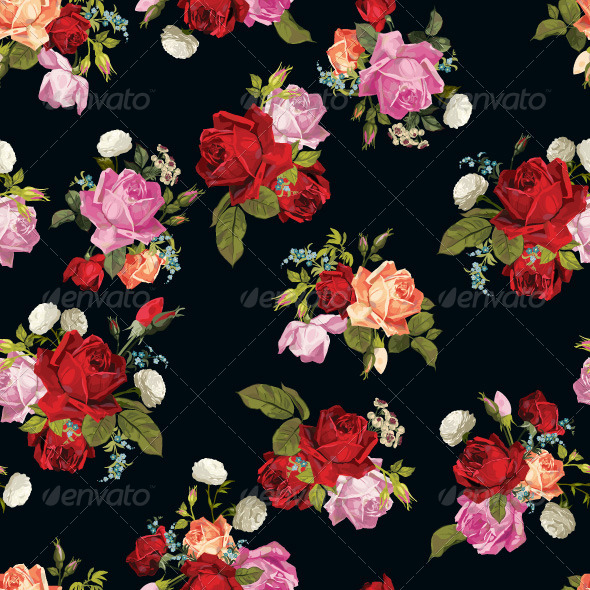GraphicRiver Seamless Floral Pattern with Roses 7666079