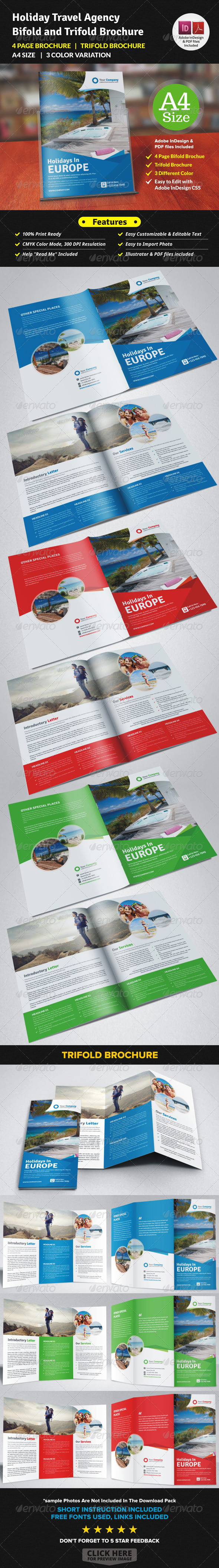 GraphicRiver Holiday Travel Agency Bifold and Trifold Brochure 7703770