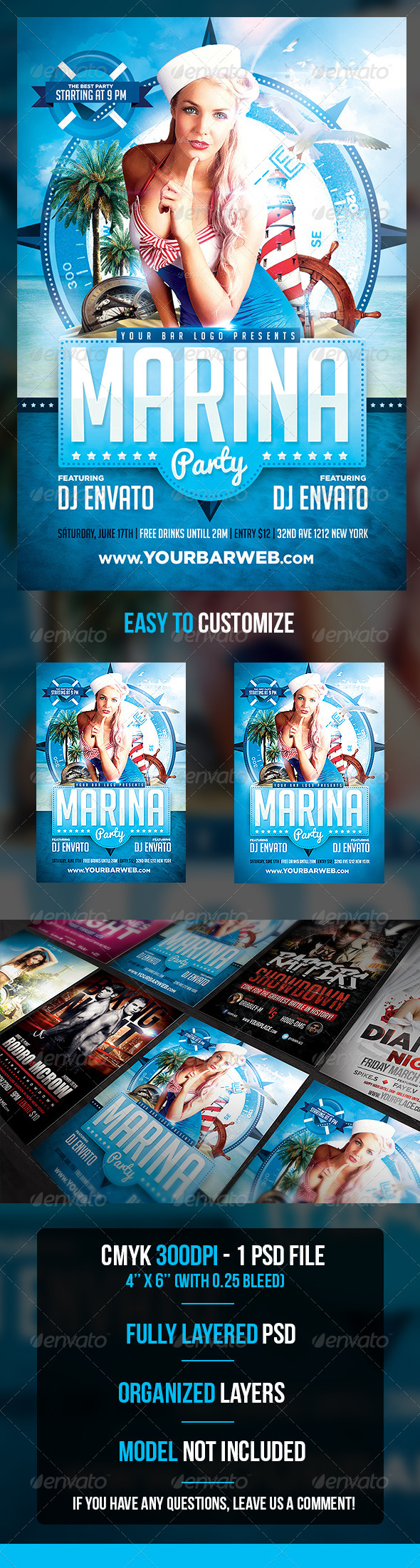 Marina Party Flyer Template - Flyers Print Templates