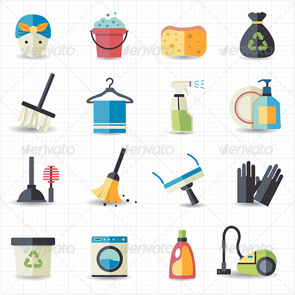 GraphicRiver Cleaning Icons 7705049