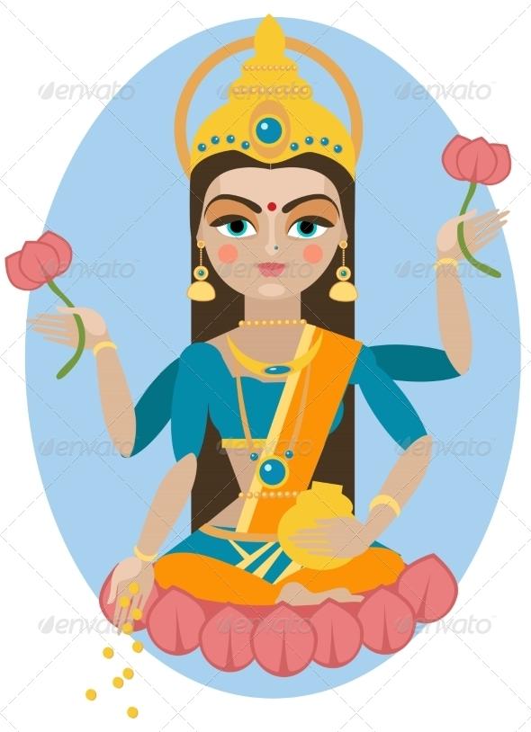 GraphicRiver Lakshmi Deity Illustration 7705347
