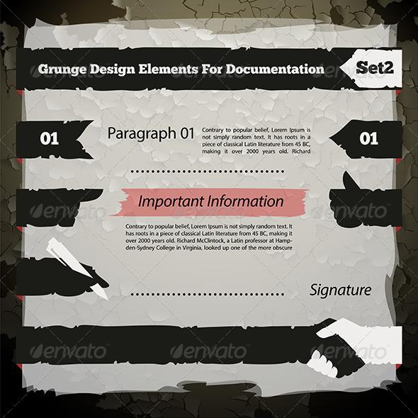 GraphicRiver Grunge Design Elements for Documentation Set 7692909