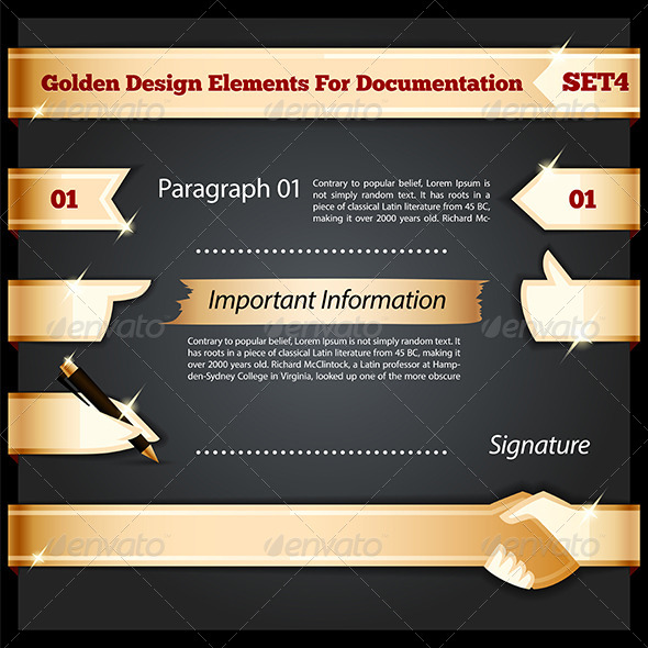 GraphicRiver Golden Design Elements for Documentation Set 7692934