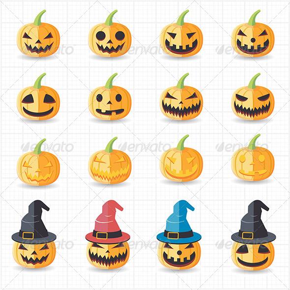 GraphicRiver Halloween Pumpkin Icons 7705592
