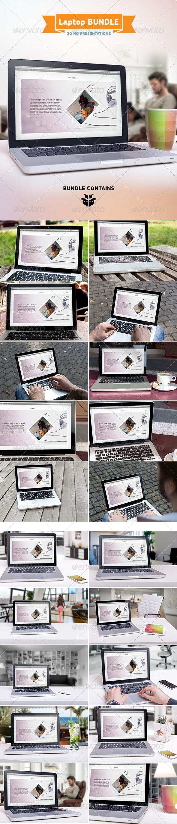 GraphicRiver Laptop Screen Mockup Bundle 7706859