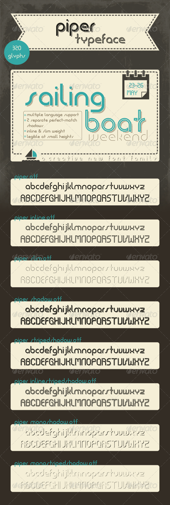 GraphicRiver Piper Typeface Family 7707801