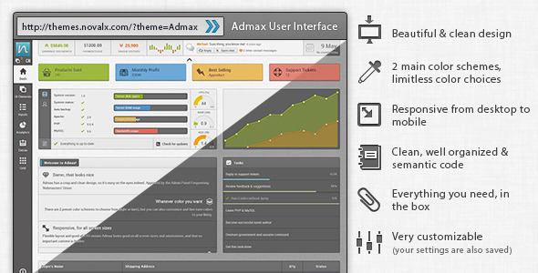 Admax User Interface - Admin Templates Site Templates