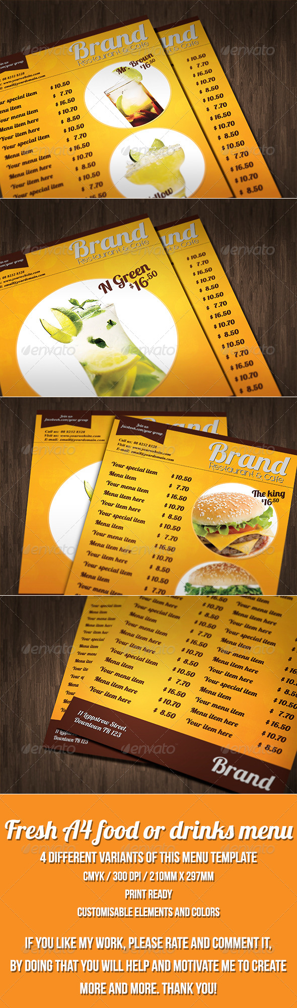 GraphicRiver Multipurpose A4 food or drinks menu template 7708488