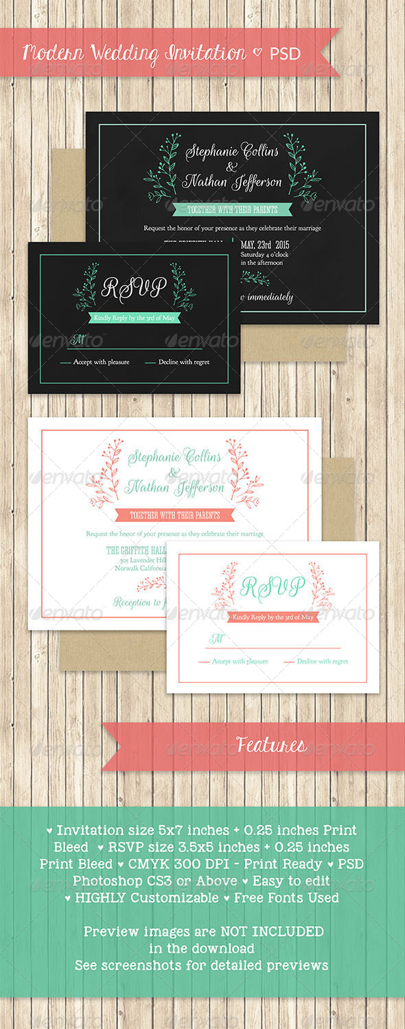 GraphicRiver Modern Wedding Invitation PSD Template 7708512
