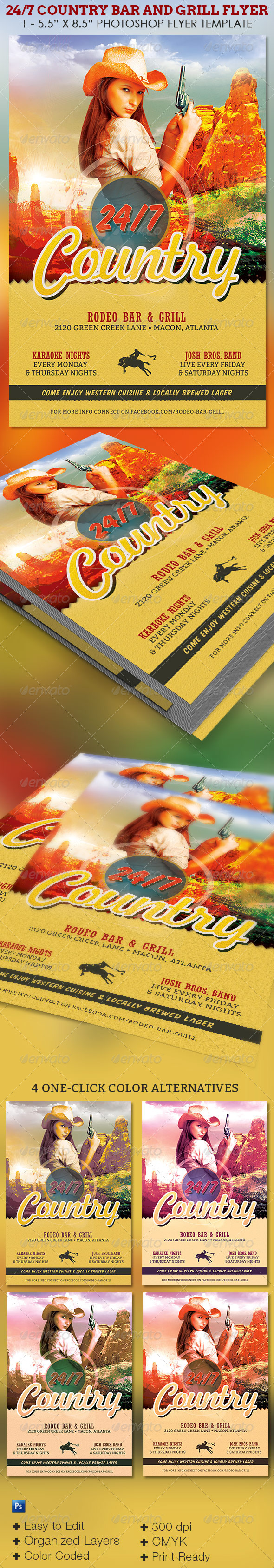 GraphicRiver 24 7 Country Bar and Grill Flyer Template 7708583