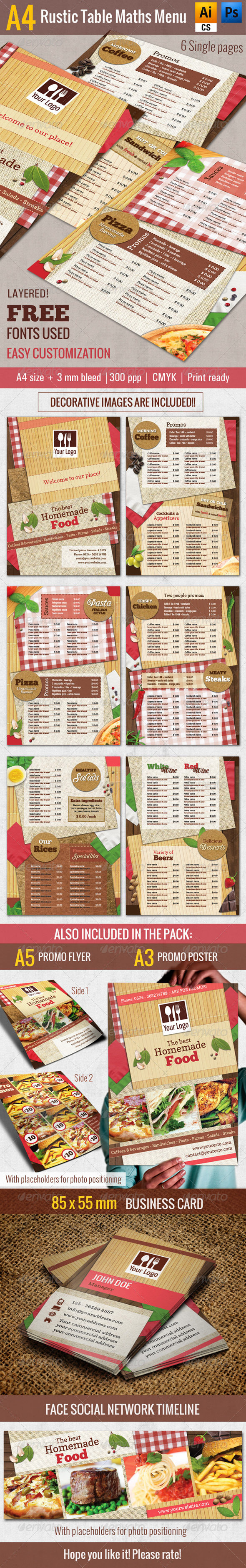 GraphicRiver A4 Rustic Table Mats Menu Restaurant Pack 7681853