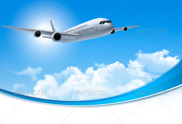 GraphicRiver Travel Background with an Airplane and Clouds 7708662