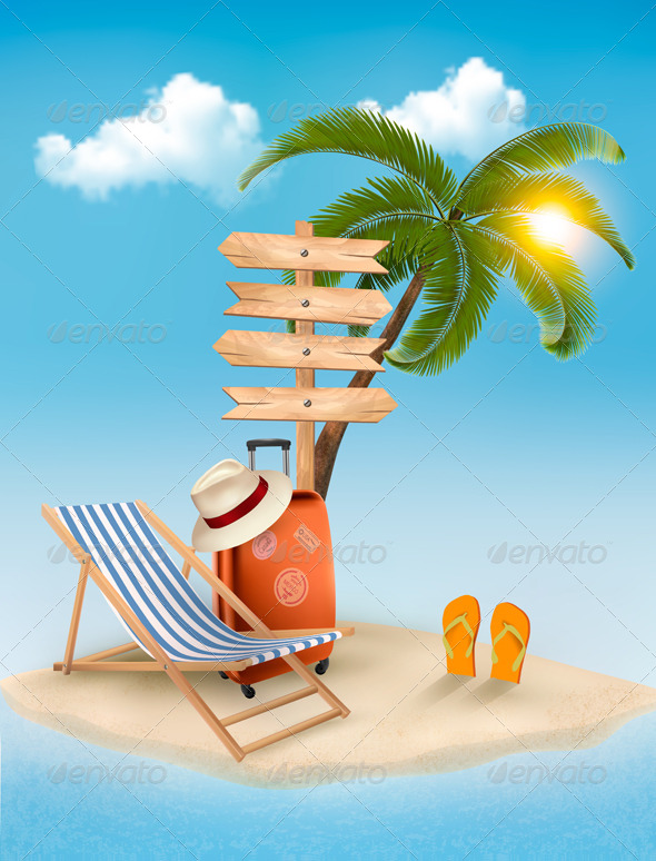 GraphicRiver Beach with a Palm Tree a Direction Sign 7708665