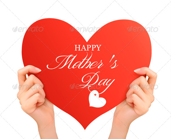 GraphicRiver Mother s Day Background Two Hands Holding Heart 7708682