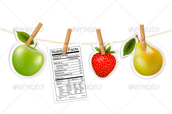 GraphicRiver Fruit Stickers and a Nutrition Label 7708684