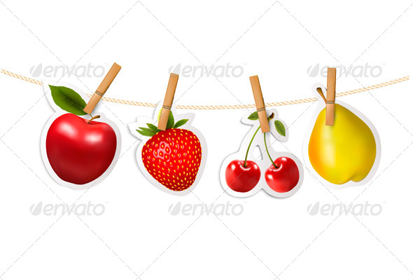 GraphicRiver Fruit Stickers Hanging on a Rope 7708686