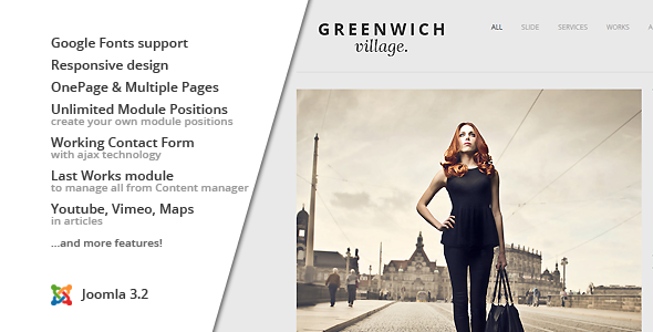 Greenwich Village :: Responsive Joomla One-Page