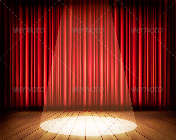 GraphicRiver Theater Stage with a Red Curtain and a Spotlight 7708728