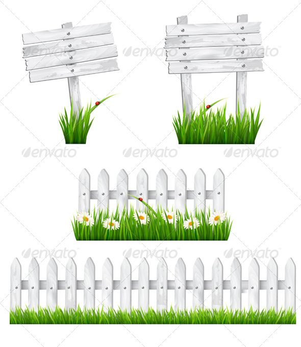 GraphicRiver Set of Wooden Signs and a Fences with Grass 7708729