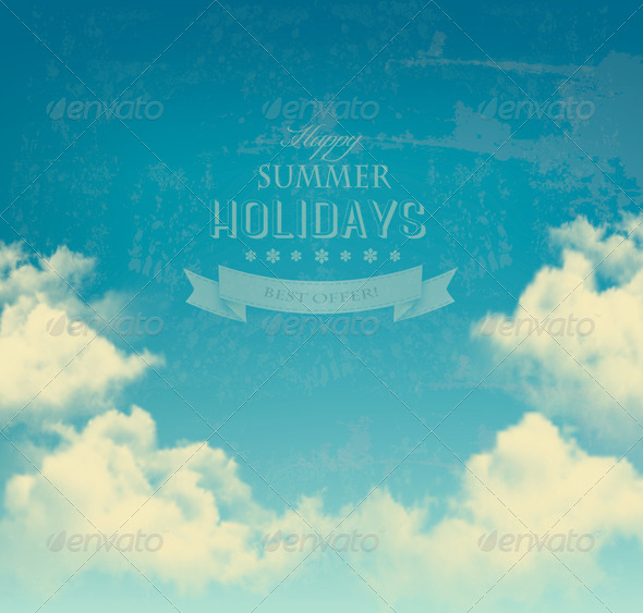 GraphicRiver Retro Sky with Clouds Background 7708730