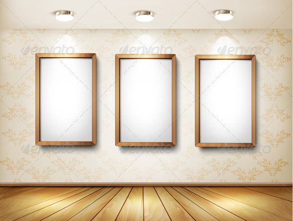 GraphicRiver Empty Wooden Frames on Wall with Spotlights 7708733