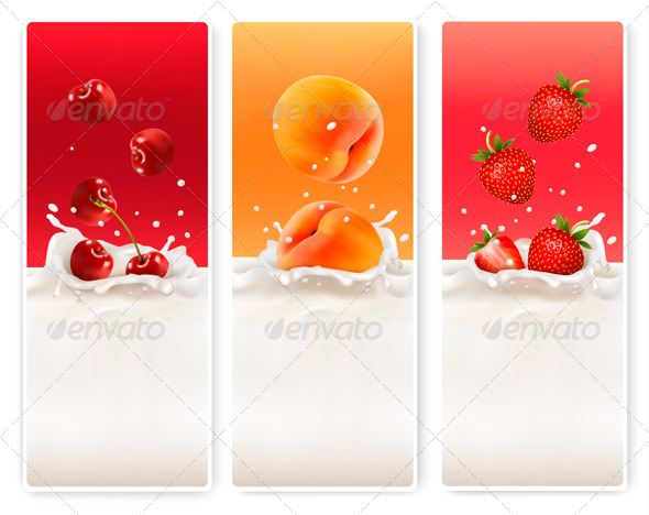 GraphicRiver Three Fruit and Milk Labels 7708746