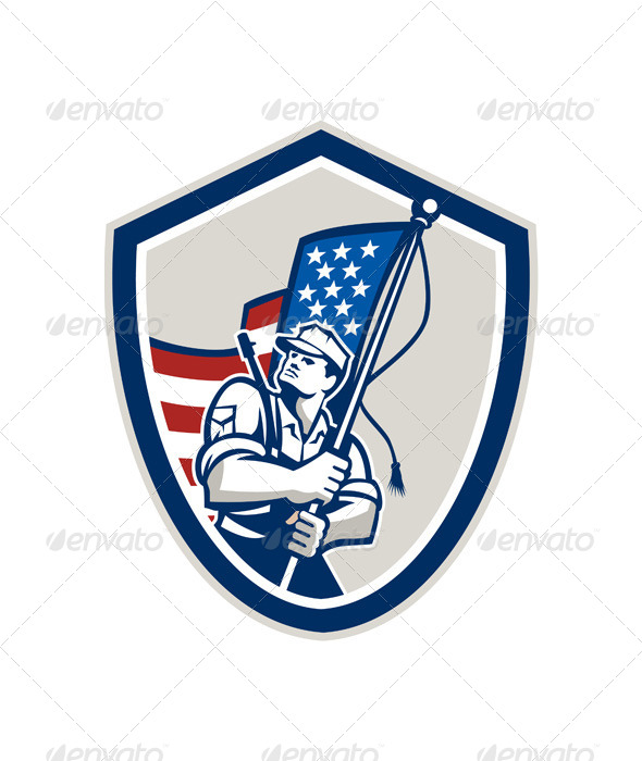 American Soldier Waving Flag Shield