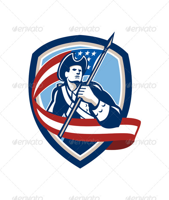 GraphicRiver American Patriot Soldier Waving Flag Shield 7708976