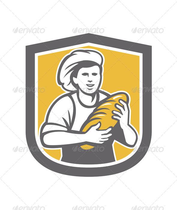 GraphicRiver Female Baker Holding Bread Loaf Shield 7708989