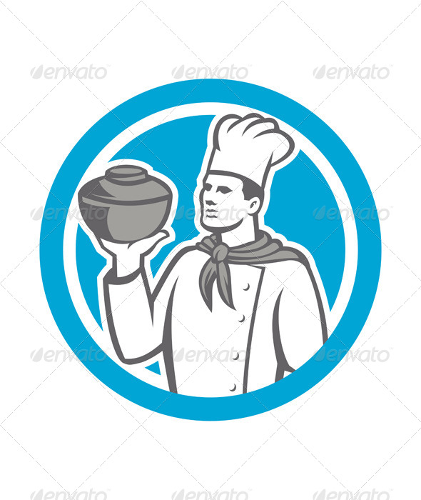 GraphicRiver Chef Cook Holding Up Pot Retro 7708991