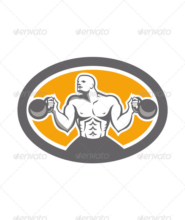 GraphicRiver Bodybuilder Lifting Kettlebell Front Oval Retro 7709104