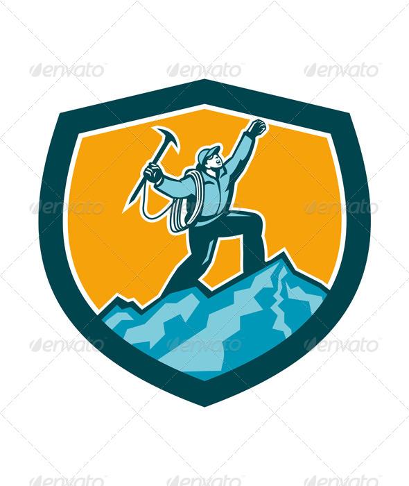 GraphicRiver Mountain Climber Reaching Summit Retro Shield 7709110