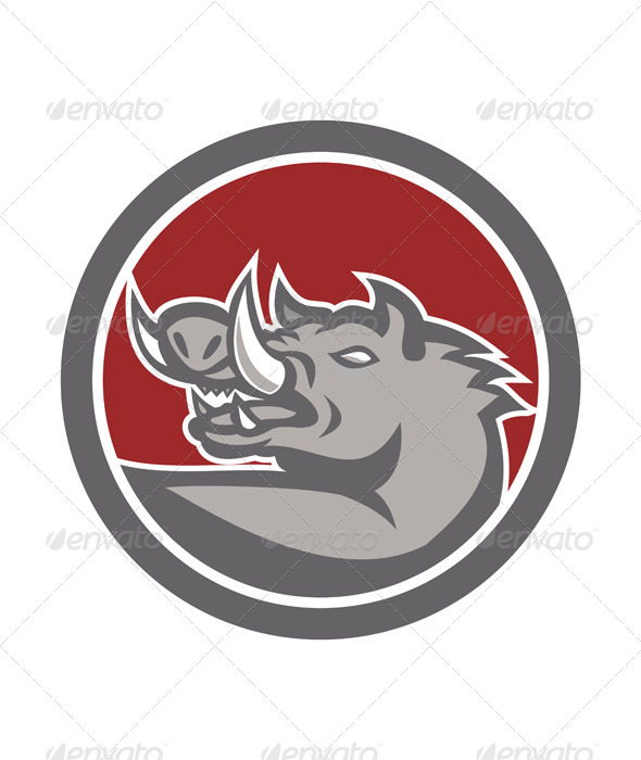 GraphicRiver Razorback Head Looking Up Circle 7709140