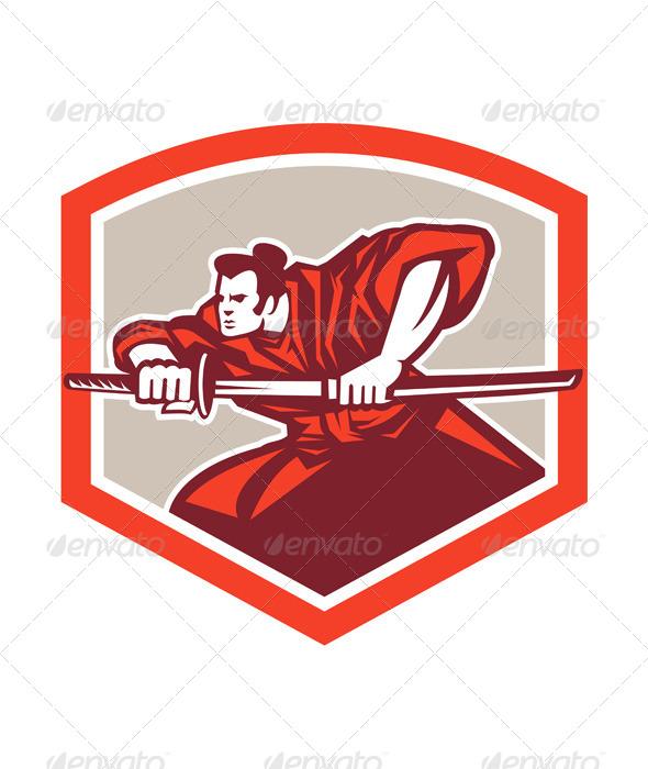 GraphicRiver Samurai Warrior Drawing Katana Sword Shield 7709142