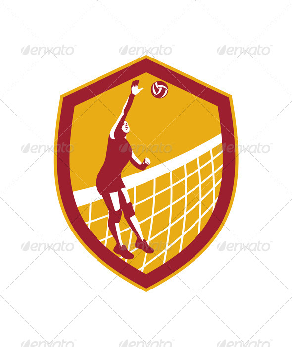 GraphicRiver Volleyball Player Spike Ball Net Retro Shield 7709146