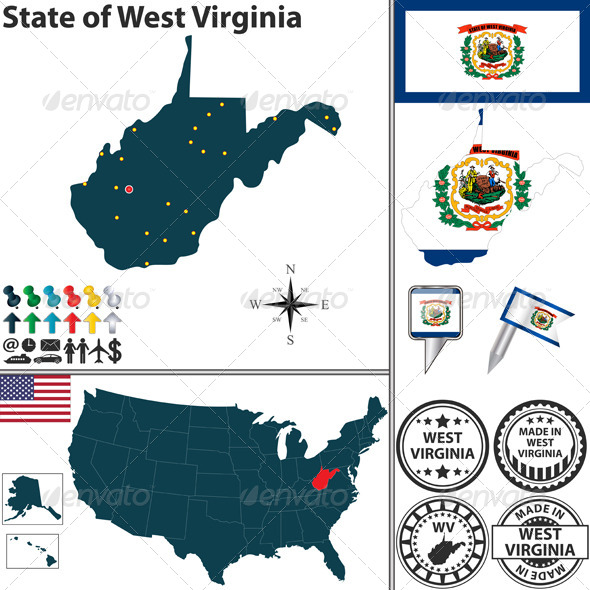 GraphicRiver Map of State West Virginia USA 7709246